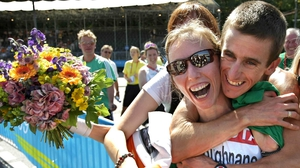 Olive Loughnane and Rob Heffernan celebrate her World Championship silver in 2009