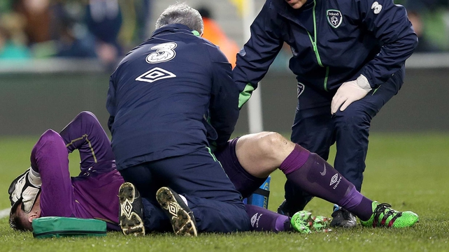 Rob Elliot in distress after his injury