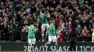 Shane Long celebrates after scoring Ireland's first goal