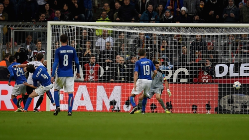 Mario Gotze scores for Germany at the Allianz Arena