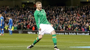 James McClean celebrates his penalty