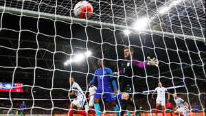 Fraser Forster is beaten in the England goal as the Netherlands complete their comeback at Wembley