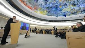 UN chief Ban Ki-moon addresses delegates in Geneva