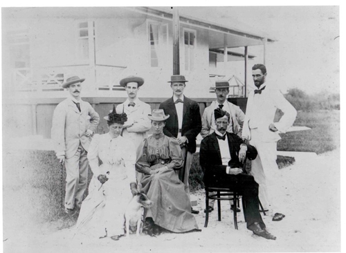 Casement and bulldog photographed in Nigeria with Mary Kingsley and Sir Claude MacDonald and wife 1895