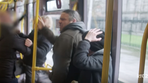 A still taken from a scene of an attack on the LUAS