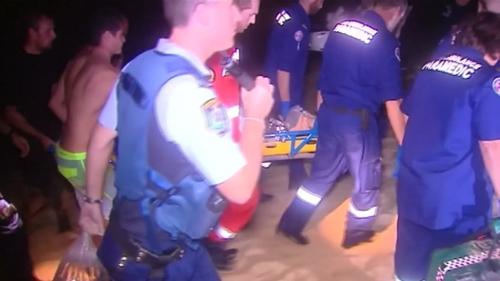The Sydney Morning Herald said the man had three-quarters of his thigh ripped off