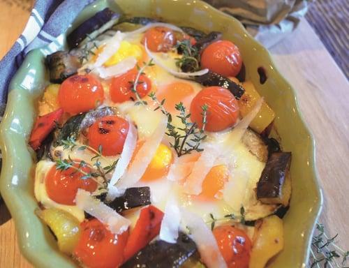 Catherine Fulvio's Aubergine & Ricotta Baked Eggs