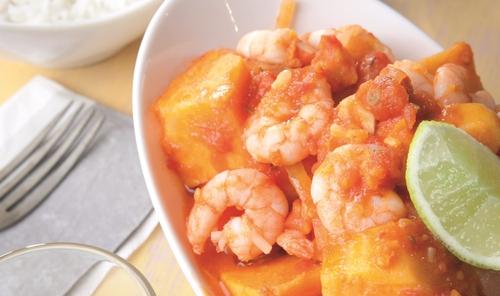 Catherine Fulvio's Ginger, Tomato & Sweet Potato Curry with Prawns