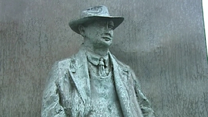 The statue of Brian O'Nolan, AKA Brian Ó Nualláin, AKA Flann O'Brien, AKA Myles na gCopaleen, in his birthplace, Strabane, County Tyrone.