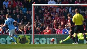 De Bruyne celebrates scoring against Bournemouth on Saturday