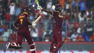 Carlos Brathwaite celebrates after hitting the winning runs in the ICC World Twenty20 final