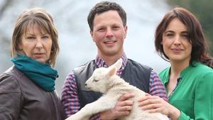 Áine Lawlor, farmer John Fagan and Ella McSweeney in Big Week on the Farm which begins tonight.