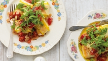 Ricotta & Almond Courgette Ravioli with tomato sauce
