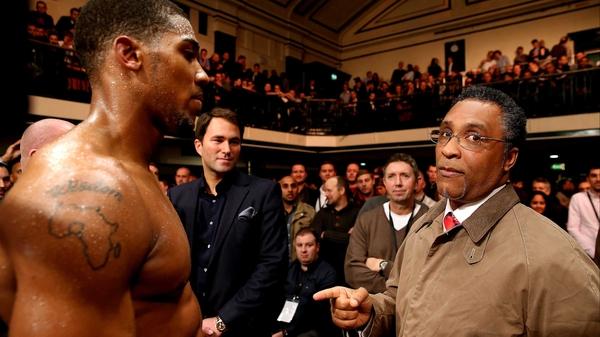 Michael Watson pictured with British heavyweight champion Anthony Joshua