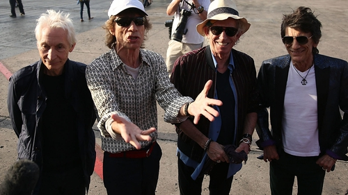 The Rolling Stones at Havana airport on arrival in Cuba last month.