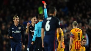 Fernando Torres is sent-off at the Camp Nou