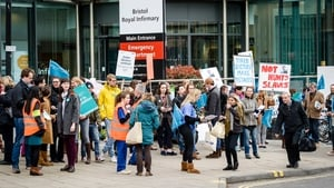 Doctors picket outside a hospital in Bristol