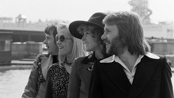 Swedish Pop Group ABBA, Brighton, England (1974). Photographer: Roy Bedell