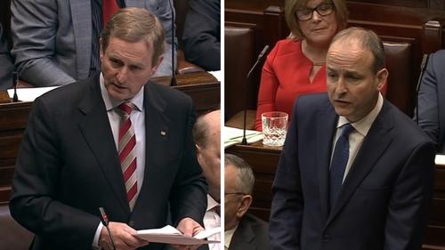 Enda Kenny's Fine Gael and Micheál Martin's Fianna Fáil are on 26%, according to the RED C poll