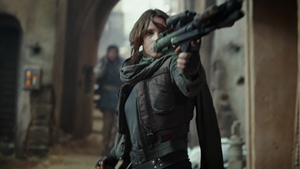 Felicity Jones in action as Jyn Erso Movie photos and screengrabs copyright: DisneyLucasfilm