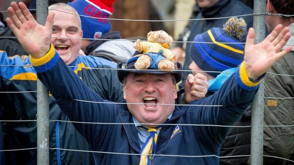 Roscommon fans celebrate their league win over Kerry in Killarney