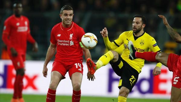 Jordan Henderson in action against Borussia Dortmund