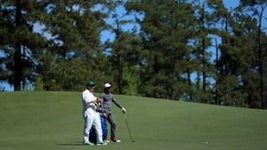 Rory McIlroy and JP Fitzgerald survey the scene in Augusta