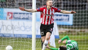 Ronan Curtis celebrates his goal