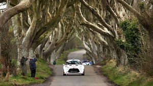 Craig Breen passes through The Dark Hedges in Antrim