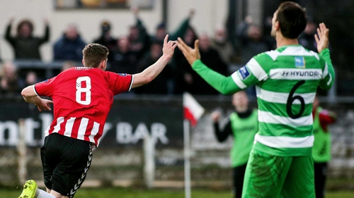 Harry Monaghan wheels away in celebration after his goal