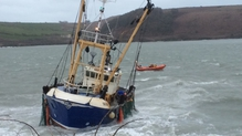 The Sean Anthony grounded as it entered Kinsale harbour at around six o'clock this evening (Pic: Mark Lewis, RNLI)