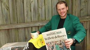 Danny Willett relaxing in his green jacket after a dramatic 2016 Masters