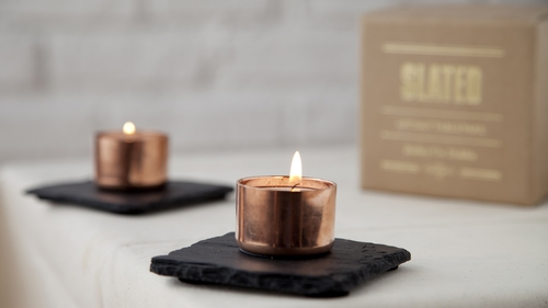 Slated Copper and Slate Candle Holder Square, €25