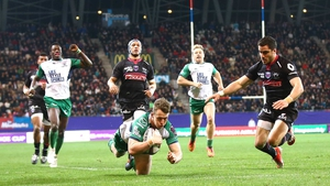 Matt Healy scores Connacht's fourth try against Grenoble