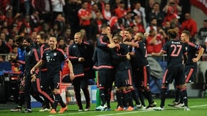 Bayern Munich celebrate and go through to their fifth consecutive Champions League semi-finals