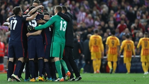 Atletico Madrid players celebrate victory