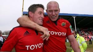 Ronan O'Gara and Paul O'Connell during their Munster days
