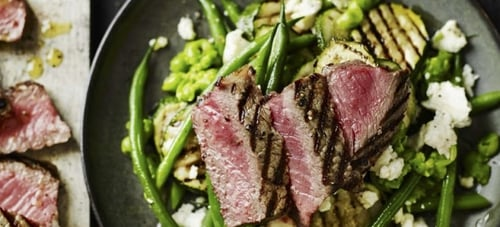 Steak with mashed pea, green bean, courgette, and feta salad