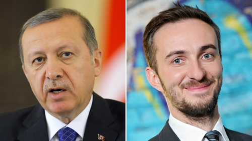 Turkey complained over a poem about Tayyip Erdogan (l) read on TV by Jan Boehmermann