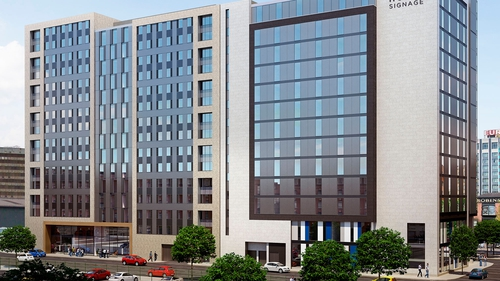 Planning permission for a new 14-storey hotel, designed by Belfast architect Consarc, was granted in November last year