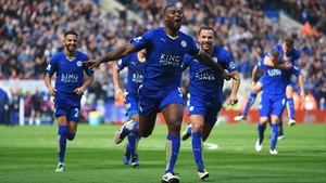 Wes Morgan celebrates his winner against Southampton