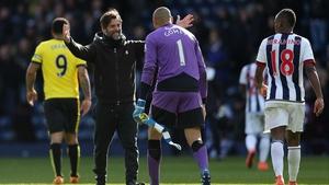 Heurelho Gomes celebrates with his manager