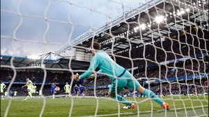 Sergio Aguero completes his hat-trick from the penalty spot at Stamford Bridge