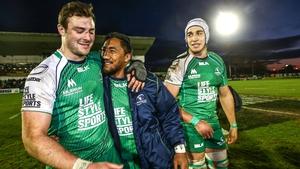 Robbie Henshaw and Bundee Aki celebrate victory over Munster