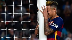 Neymar takes his anguish out on the goalpost