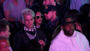 Leonardo DiCaprio whispers in Rihanna's ear at Coachella