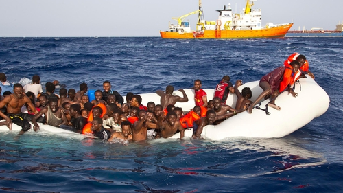 108 migrants were rescued from a semi-submerged rubber dinghy yesterday