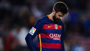 A dejected Gerard Pique after defeat to Valencia