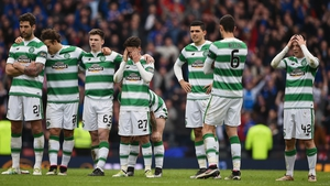 Celtic players react at the penalty shoot out during the William Hill Scottish Cup semi-final at Hampden Park