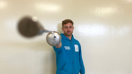Arthur Lanigan O'Keeffe poses with his fencing épée at the modern pentathlon facility at the National Sports Campus in Abbostown, County Dublin